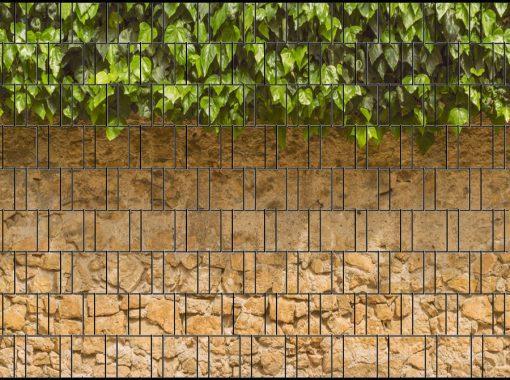 Sichtschutzstreifen Efeu mit Mauer